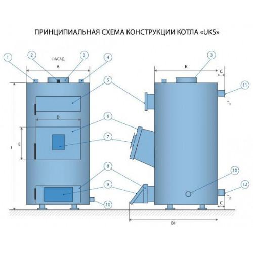 Котел твердотопливный IDMAR UKS-13 кВт Идмар УКС с механическим регулятором тяги