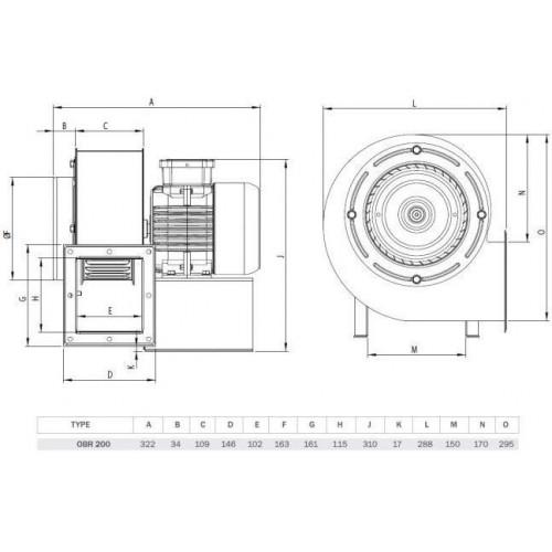 Вентилятор OBR 200 M-2K для промышленных твердотопливных котлов