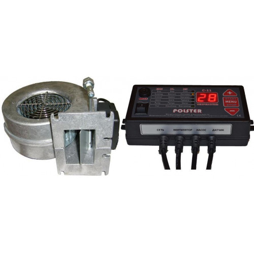 Автоматика Polster C-11 и вентилятор WPA-120 комплект для твердотопливного котла аналог Atos